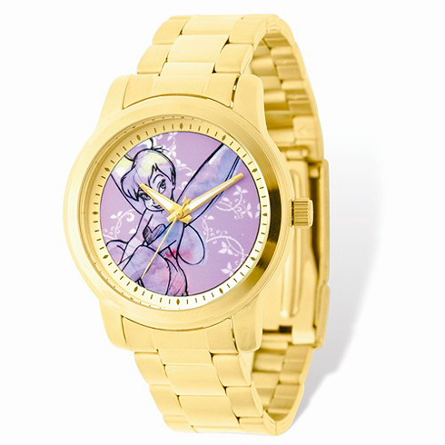 Tinker Bell Gold-tone Stainless Steel Pink Dial Watch