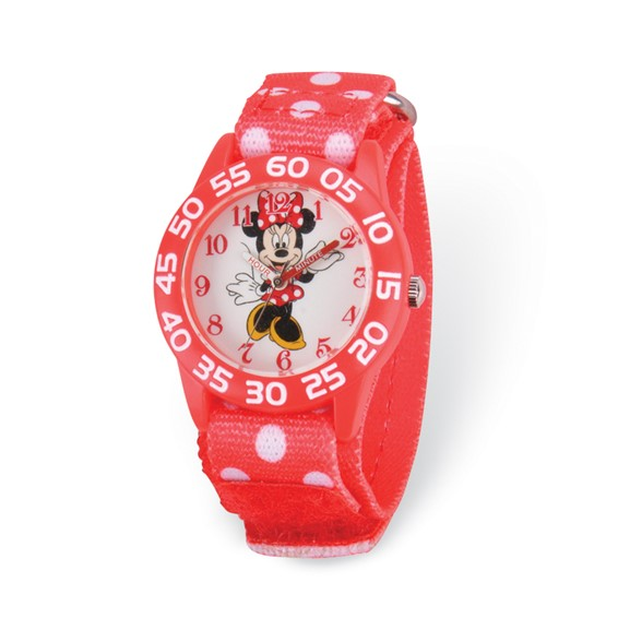 Minnie Mouse Red Dot Velcro Time Teacher Watch