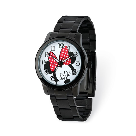 Minnie Mouse Black Stainless Steel White Dial Watch