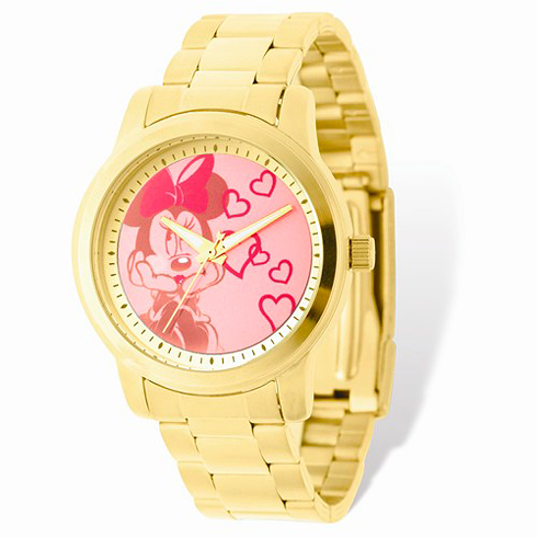 Minnie Mouse Gold-tone Stainless Steel Pink Dial Watch