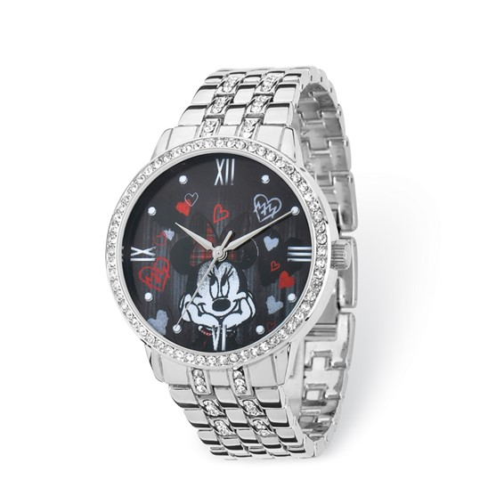 Minnie Mouse Silver-tone Crystal Bracelet Watch with Roman Numerals