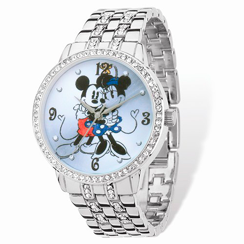 Mickey and Minnie Mouse Silver-tone Crystal Bracelet Watch