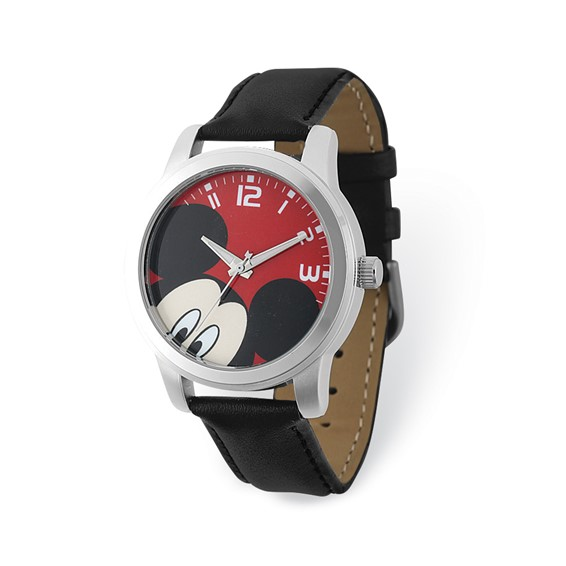 Mickey Mouse Red Dial Leather Watch