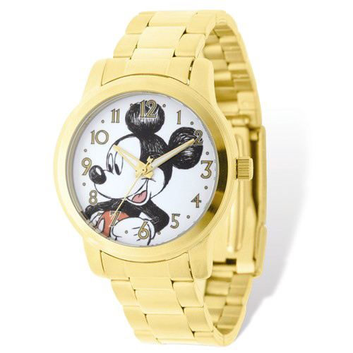 Mickey Mouse Gold-tone Stainless Steel Gold Dial Watch