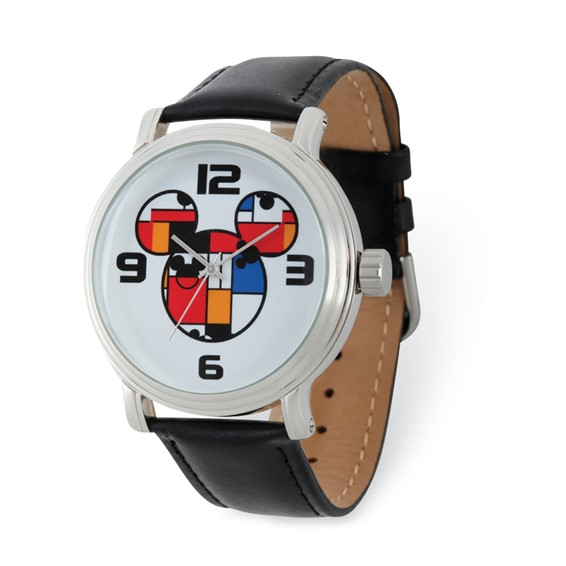 Mickey Mouse Men's Colorblock Leather Watch