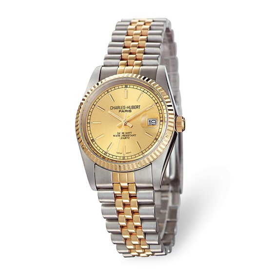 Charles Hubert 14k Gold-plated Two-tone Gold-tone Dial Watch 3635-Y