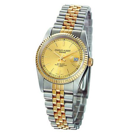 Mens Charles Hubert 14k Gold-plating Two-tone Gold-tone Dial Watch No. 3635-Y