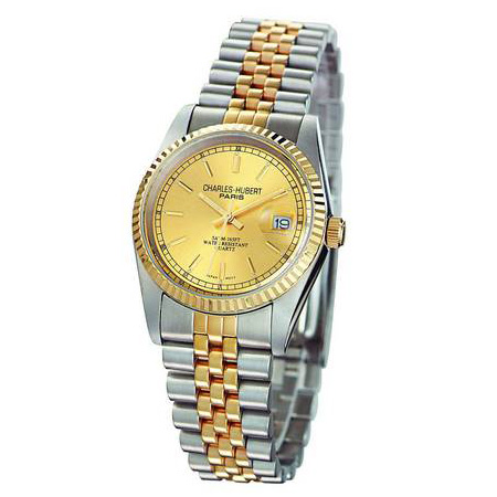 Ladies Charles Hubert 14k Gold-plating Two-tone Gold-tone Dial Watch No. 6635-Y