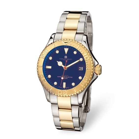 Mens Charles Hubert 14k Gold-plated Two-tone Blue Dial Watch No. 3514-GE