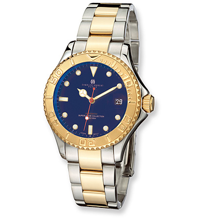 Charles Hubert 14k Gold-plated Two-tone Blue Dial Watch 3514-GE
