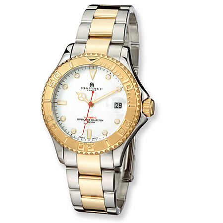 Mens Charles Hubert 14k Gold-plated Two-tone White Dial Watch No. 3514-GW