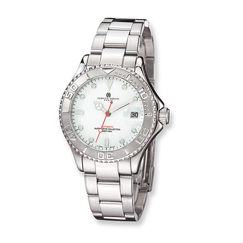Mens Charles Hubert Stainless Steel Off White Dial Watch No. 3514-WW