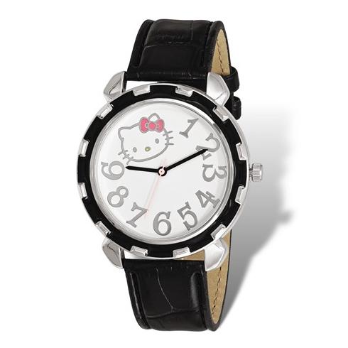 Hello Kitty Silver-tone Black Enamel Leather Strap Watch
