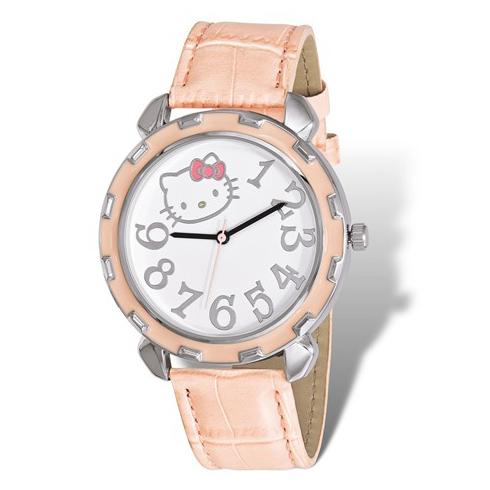 Hello Kitty Silver-tone Pink Enamel Leather Strap Watch