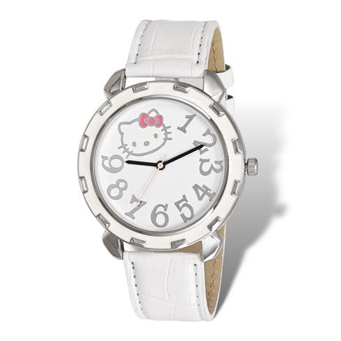 Hello Kitty Silver-tone White Enamel Leather Strap Watch