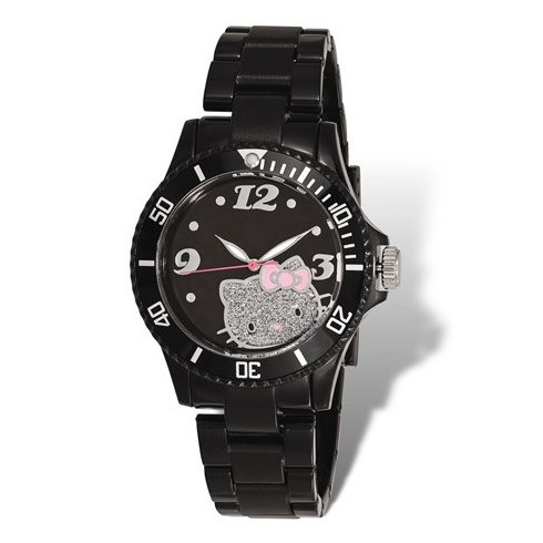 Hello Kitty Black Acrylic Glitter Watch