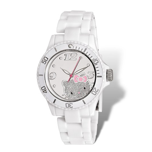 Hello Kitty White Acrylic Glitter Watch