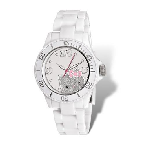 Hello Kitty White Acrylic Glitter Watch