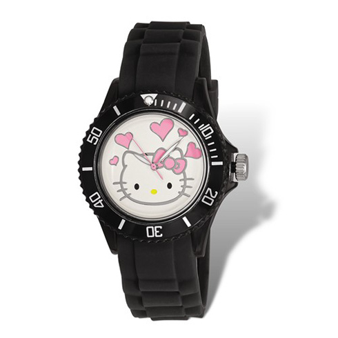 Hello Kitty Black Acrylic Silicone Strap Watch with Hearts