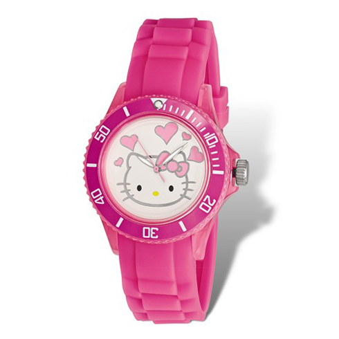 Hello Kitty Pink Acrylic Silicone Strap Watch with Hearts