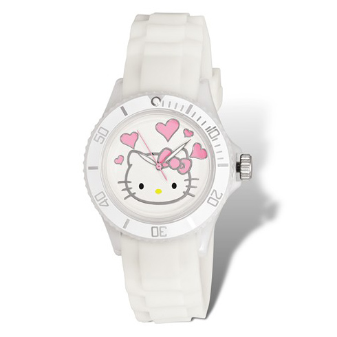 Hello Kitty White Acrylic Silicone Strap Watch with Hearts