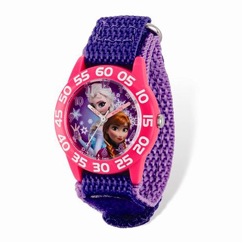 Frozen Purple Velcro Purple Dial Time Teacher Watch