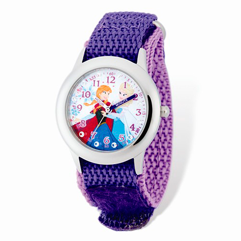 Frozen Elsa Anna Purple Velcro White Dial Time Teacher Watch