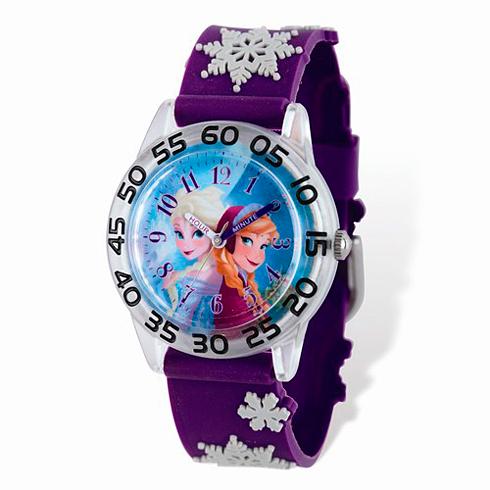Frozen Purple Snowflake Blue Dial Time Teacher Watch