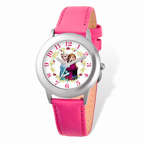 Frozen Silver-tone Pink Leather Strap Watch
