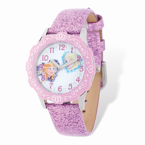 Frozen Elsa Anna Lilac Sparkle Leather Strap Watch