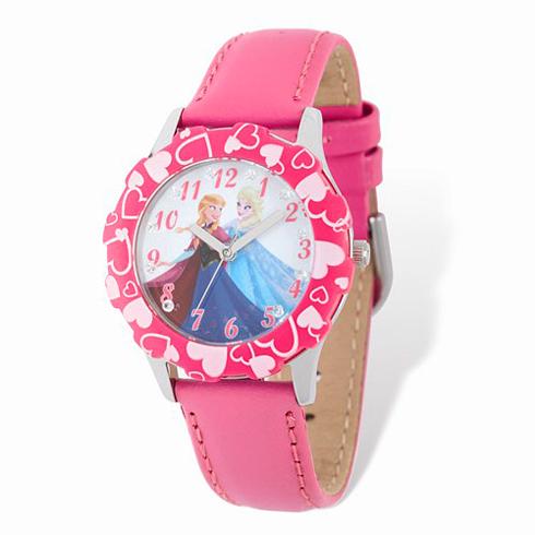 Frozen Elsa Anna Hearts Pink Leather Strap Watch