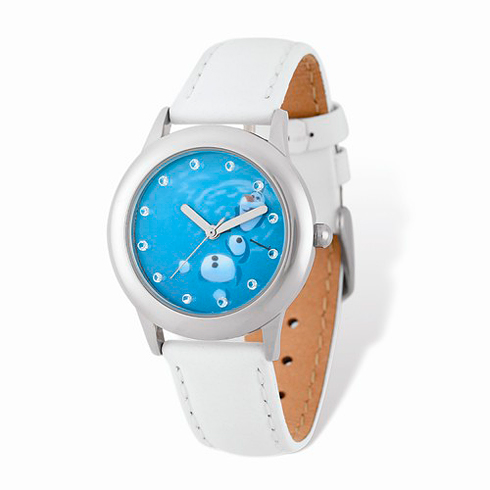Frozen Olaf White Leather Strap Watch
