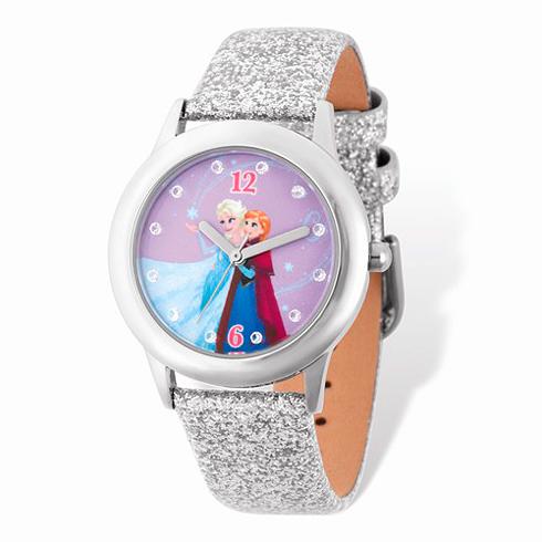 Frozen Elsa Anna White Leather Sparkle Strap Watch