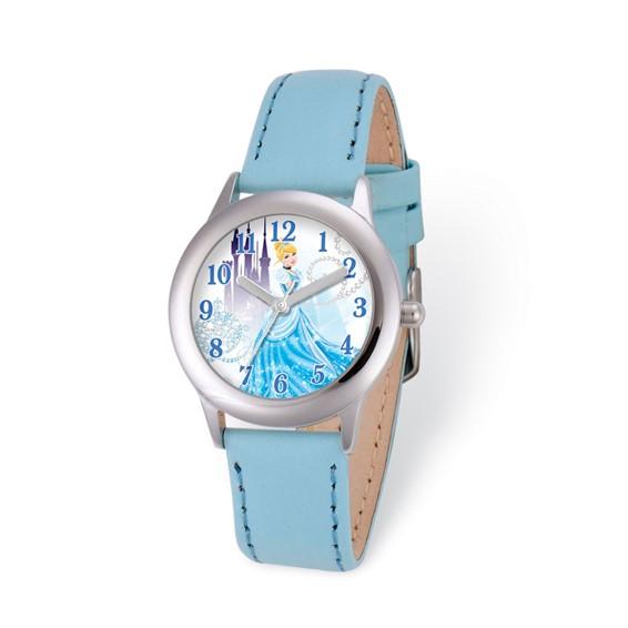 Cinderella Blue Leather Strap Watch