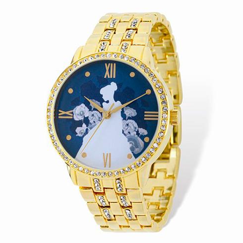 Cinderella Silhouette Gold-tone Crystal Bracelet Watch