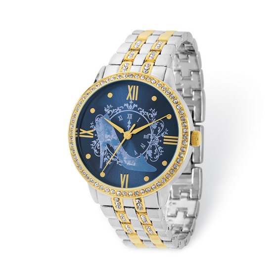 Cinderella Slipper Two-tone Crystal Bracelet Blue Dial Watch