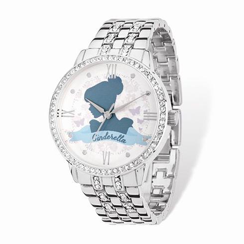 Cinderella Blue Silhouette Silver-tone Crystal Bracelet Watch