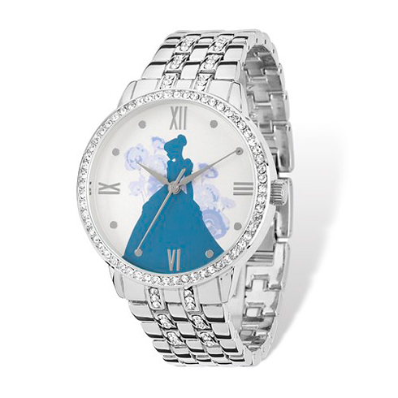 Cinderella Full Silhouette Silver-tone Crystal Bracelet Watch