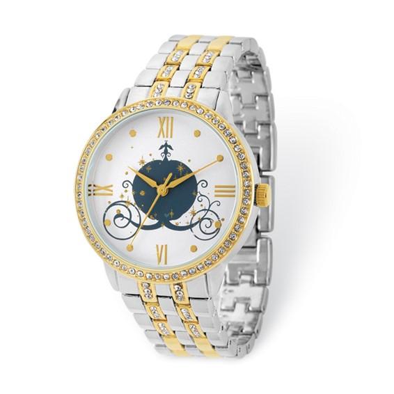 Cinderella Coach Two-tone Crystal Bracelet White Dial Watch