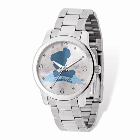 Cinderella Silhouette Stainless Steel Silver Dial Watch