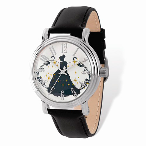 Cinderella Silhouette Silver-tone Leather Watch