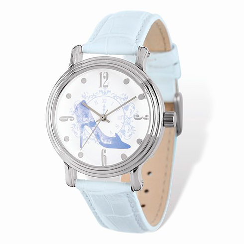 Cinderella Slipper Silver-tone Leather Watch