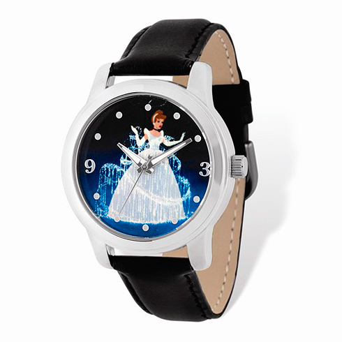Cinderella Gown Silver-tone Leather Watch