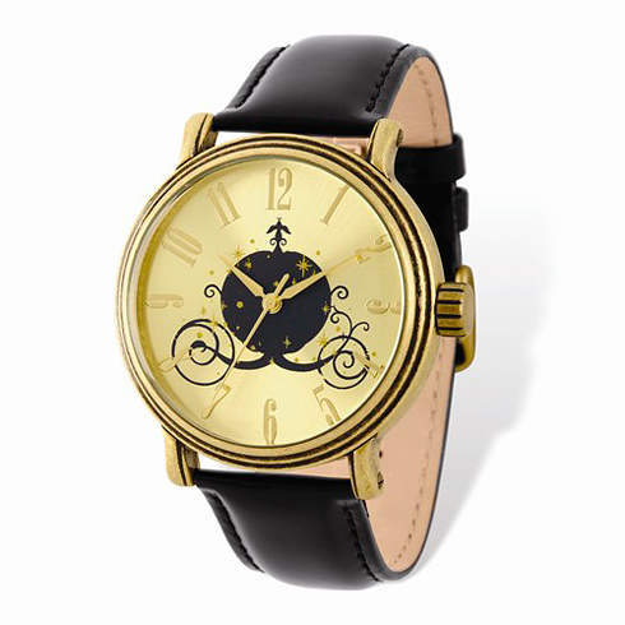 Cinderella Coach Antique Gold-tone Leather Watch