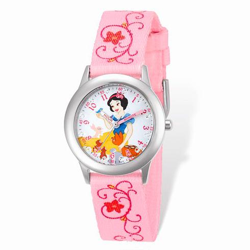 Snow White Woven Band White Dial Time Teacher Watch