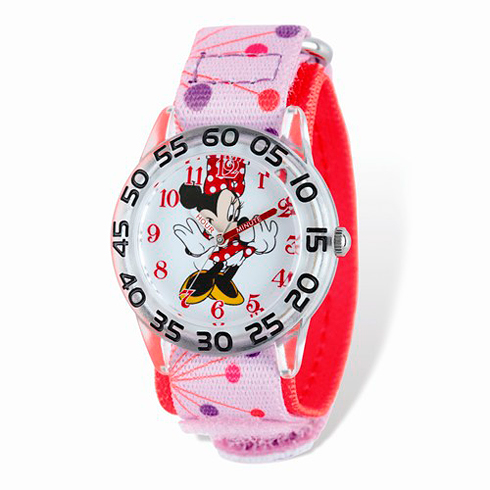 Minnie Mouse Pink Dot Woven Band Silver-Tone Time Teacher Watch