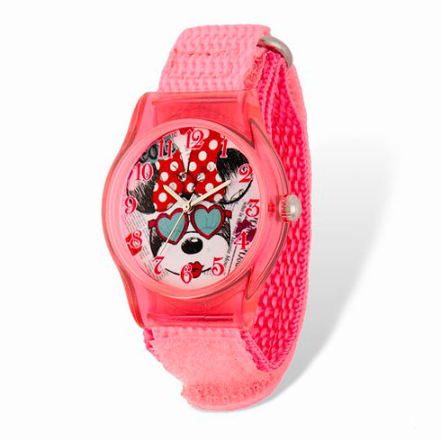 Minnie Mouse Heart Sunglasses Pink Velcro Watch