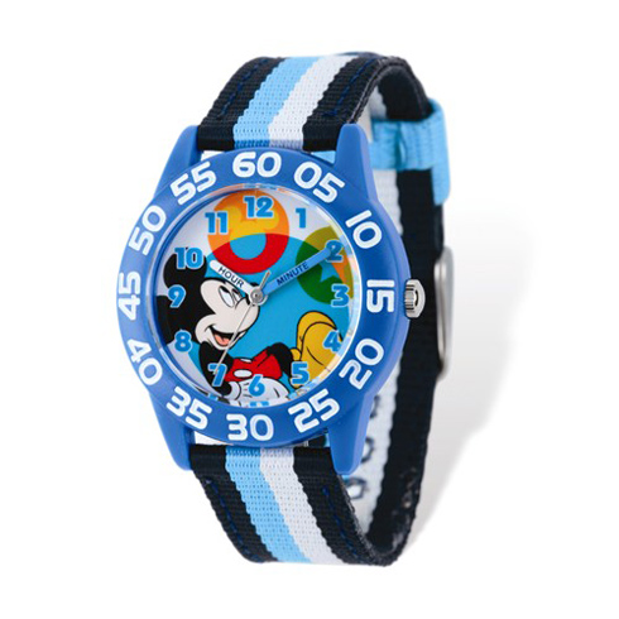 Mickey Mouse Striped Nylon Time Teacher Watch