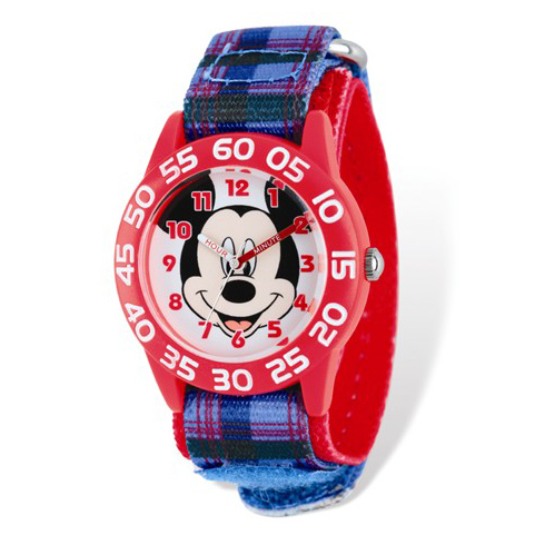 Mickey Mouse Plaid Nylon Time Teacher Watch