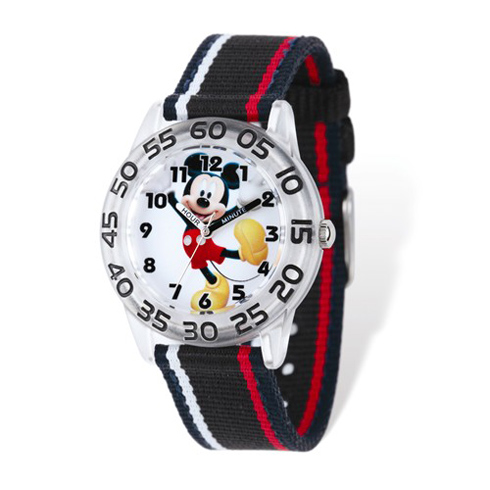 Mickey Mouse Red and White Striped Nylon Time Teacher Watch
